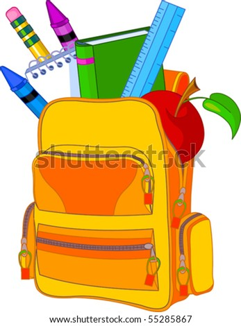 Back to school image concept. All objects are grouped and layered for easy editing. - stock vector