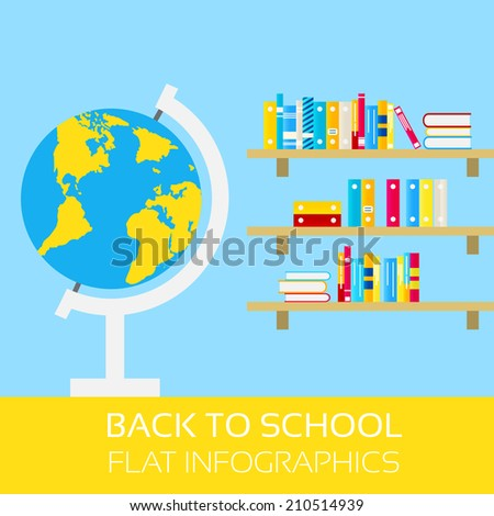 Back to school infographics. Globe and shelf with books. Modern, flat design style - stock vector
