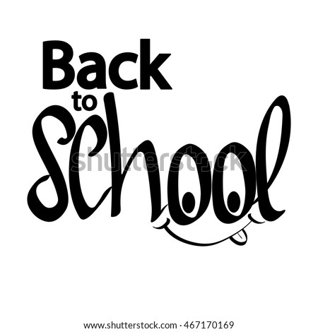 Back to school, isolated calligraphy phrase, words design template, vector illustration