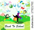 back to school;  joyful design with children playing - stock photo