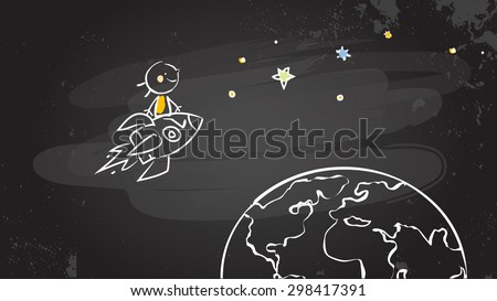Back to school kid riding a rocket, chalk on blackboard. Sketchy doodle style scribble, education vector illustration.   - stock vector