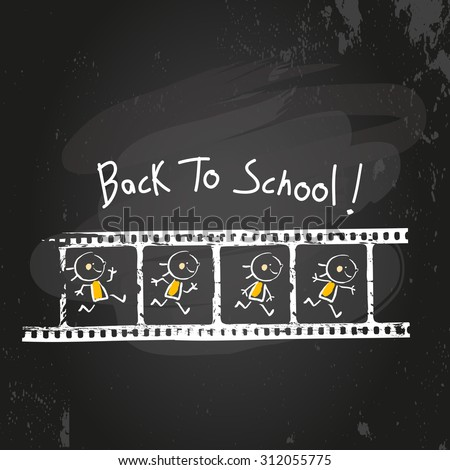 Back to school kid running animation on filmstrip. Educational Chalk on blackboard doodle style vector illustration  - stock vector
