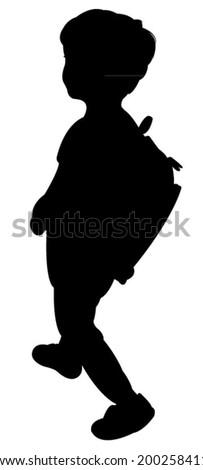 back to school kid silhouette  - stock vector