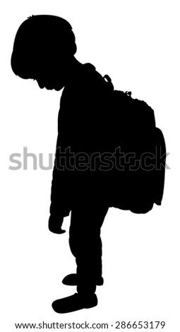 back to school kid silhouette, exhausted boy - stock vector