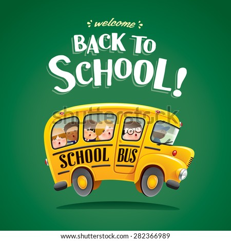 Back to School! Kids riding on school bus. - stock vector