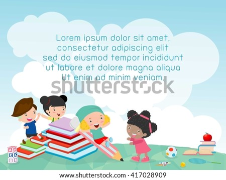 back to school, kids school, education concept, Kids go to school, Template for advertising brochure, your text ,Kids and frame,child and frame,Vector Illustration, Cute cartooen happy children. - stock vector