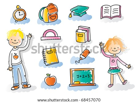 back to school kids with school icon set, watercolor style colored, grouped and layered for easy editing - stock vector