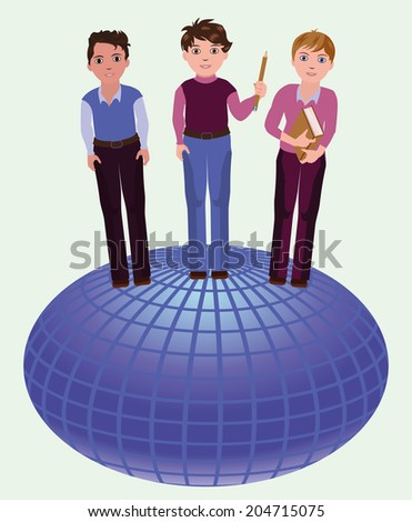 Back to school. Little school boys and globe, vector illustration - stock vector
