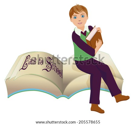 Back to school  Little school boys with old book,  vector illustration - stock vector