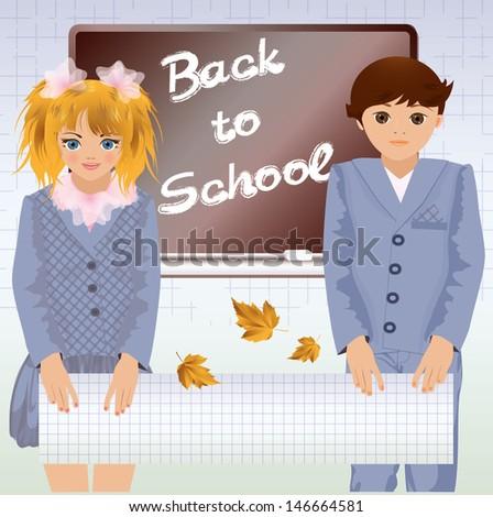 Back to school, little school children, vector illustration - stock vector
