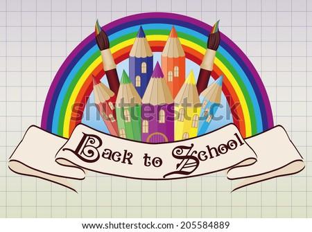 Back to School. Magic  school castle card, vector illustration - stock vector