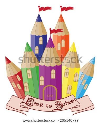 Back to School.  Magic school castle, vector illustration - stock vector