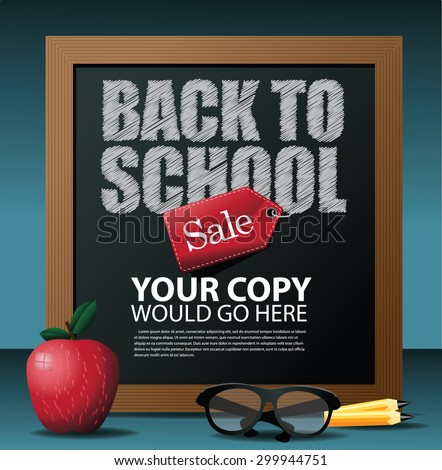Back to School marketing background. EPS 10 vector Illustration for greeting card, ad, promotion, poster, flier, blog, article, social media,  - stock vector