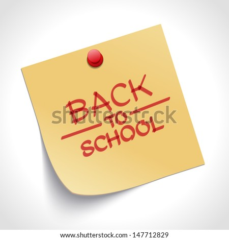 Back to school message on note paper hand draw vector illustration
