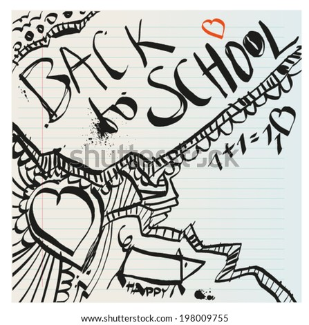 Back to school naive primitive doodles hand drawn with pen and ink on notebook page, children´s style - stock vector