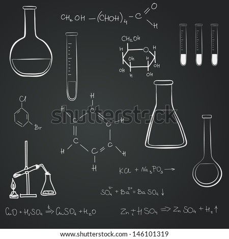 Back to school notebook doodles with chemical formulas, flasks and chemical reagents on chalkboard background. Hand drawn illustration. - stock vector