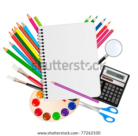 Back to school. Notepad with school supplies. Vector. - stock vector