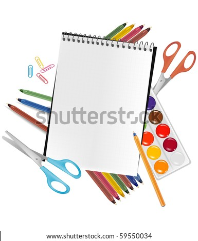 Back to school. Notepad with supplies. Vector. - stock vector