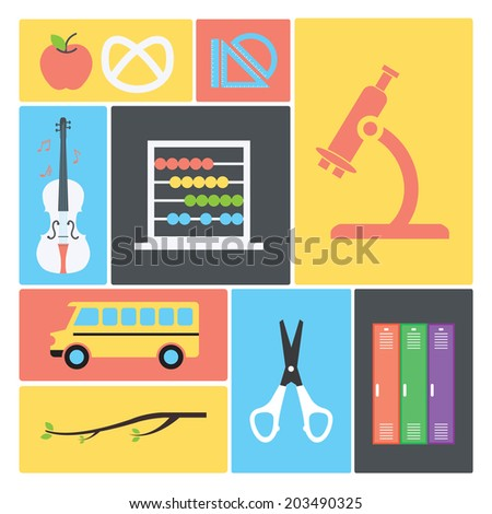 Back to school objects collection / Vector illustration set / Flat icons - stock vector