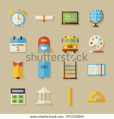Back to School Objects Set with Shadow. Flat Style Vector Illustrations. Back to School. Science and Education Set. Collection of Objects over Beige Background