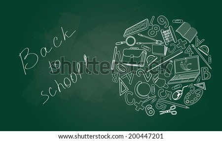 Back to school on green desk with school supplies.  Vector, EPS 10  - stock vector