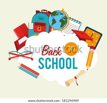 back to school over  background vector illustration  - stock vector