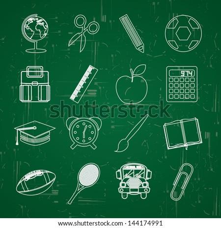 back to school over blackboard background vector illustration - stock vector
