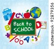 back to school over blue background. vector illustration - stock vector