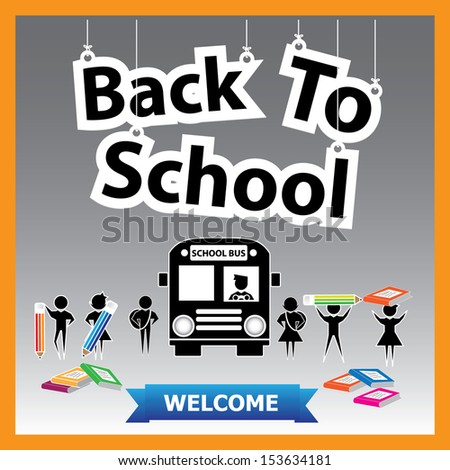Back to School Paper Hanging Sign with Pencil, book and school bus. -eps10 vector - stock vector