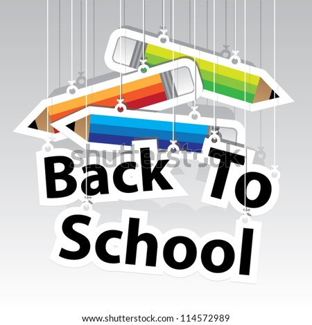 Back to School Paper Hanging Sign with Pencil paper hanging sign background -Vector - stock vector