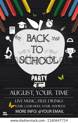 Back School Party Delight Invitation Poster Stock Vector (Royalty ...