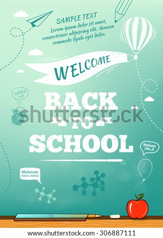 Back to school poster, education background. Vector illustration - stock vector