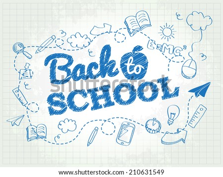 Back to school poster with doodles - stock vector
