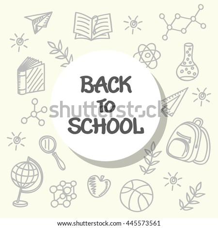 Back to school poster, with School Supplies and Lettering, hand drawn elements. Vector Illustration