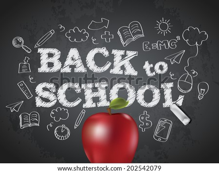 Back to school poster with text on chalkboard and apple - stock vector