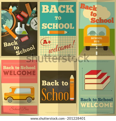 Back to School Posters Collection in Retro Style. Vector Illustration. - stock vector