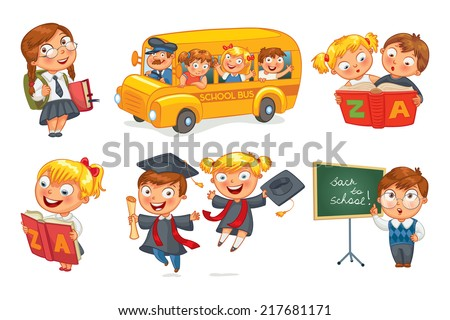 Back to school. Pupils in school uniform. Children ride the school bus. Schoolgirl reading a book. Schoolboy writing on the chalkboard. Vector illustration isolated on white background. Set - stock vector