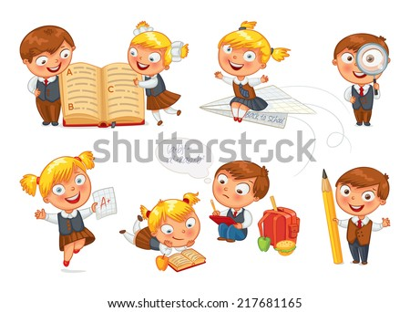 Back to school. Pupils read the textbook. Children do homework. Girl showing a good score. Boy looking through a magnifying glass. Boy draws big pencil drawing. Isolated on white background. Set - stock vector