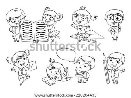 Back to school. Pupils read the textbook. Children do homework. Girl showing a good score. Boy looking through a magnifying glass. Boy draws big pencil drawing. Coloring book. Set - stock vector