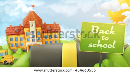 Back to school, road and sign, vector cartoon background - stock vector