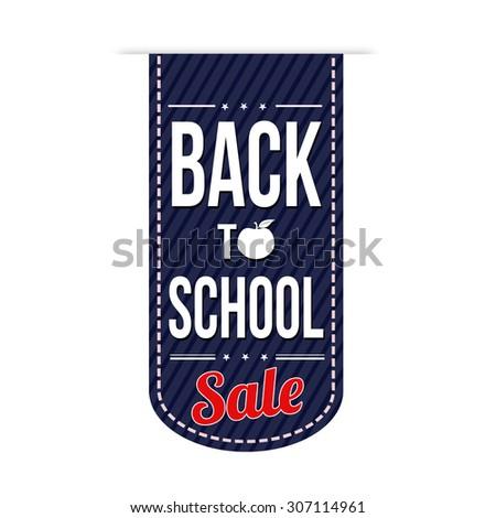 Back to school sale banner design over a white background, vector illustration - stock vector