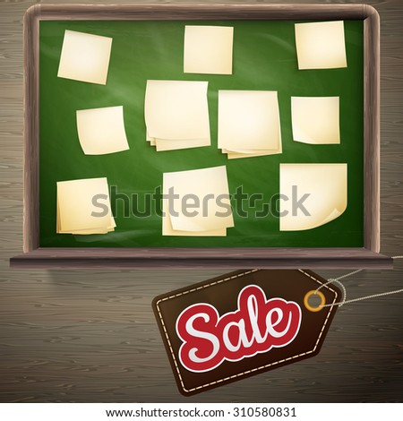Back to school sale on the chalkboard. EPS 10 vector file included - stock vector