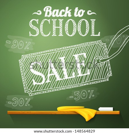 Back to school sale on the chalkboard with different sale percentss. Vector - stock vector