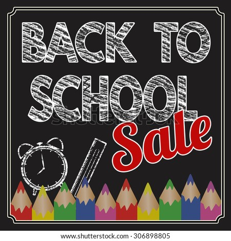 Back to school sale poster with text on chalkboard, vector illustration - stock vector