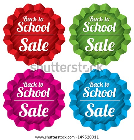 Back to school sale tags set. Special offer stickers with texture. Vector illustration. Eps10 transparent stars. Isolated on white.