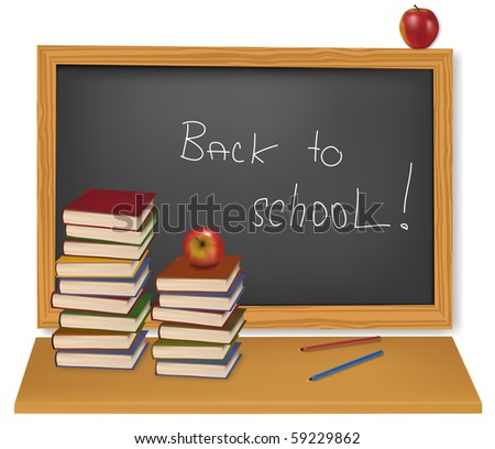 Back to school. School books with apples on the desk. Vector. - stock vector