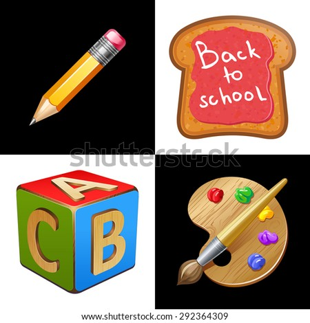 Back to School. School Lunch.Toast with jam. Pencil, palette, wooden cube with letters A,B,C 10eps - stock vector