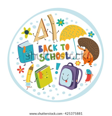 Back to school. School set books, rulers, pencils, pen and eraser. Cheerful and colorful print for your design.