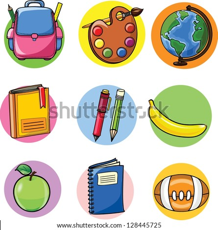 Back to school, school supplies - stock vector