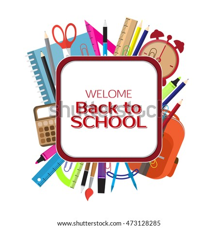 Back to school. School supplies. Education concept. Vector illustration of style Flat.
